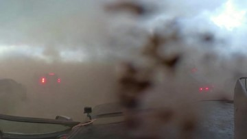 Here's a look at storm chasers caught inside passing tornado