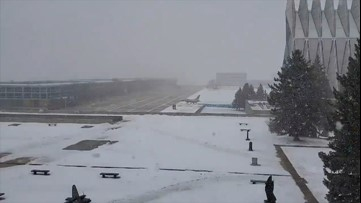 Snow squall storms through Air Force Academy