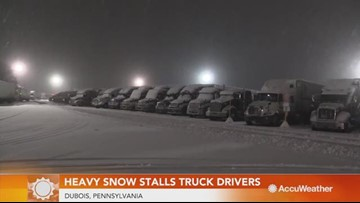 Truck drivers taken off roads due to poor roads from winter storm