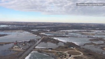Aerial captures how extensive floodwaters have spread