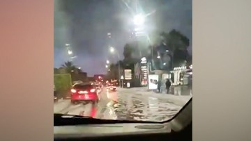Morning commuters wake up to hail-covered streets