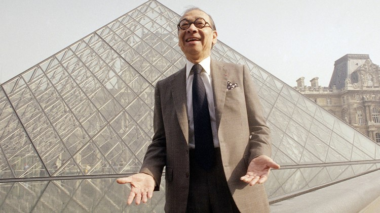 IM Pei laughing with the Louvre pyramid