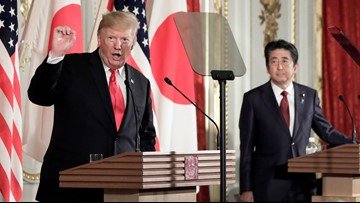 Trump breaks with Japanese Prime Minister Shinzo Abe, says not bothered by NK missile tests