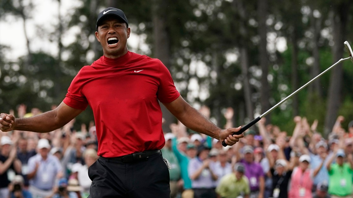 5c03b31e616bc Tiger Woods reacts as he wins the Masters golf tournament Sunday