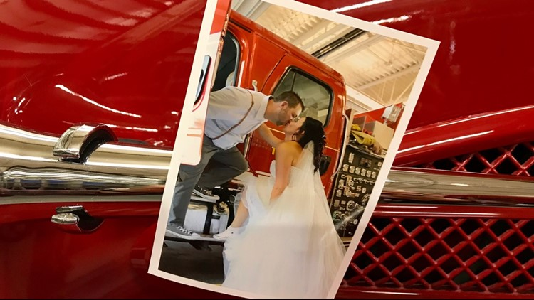 Jeremy and Krista Bourasa were married at the fire station