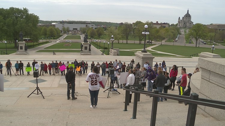 Families rallied on the steps of the Minnesota State Capitol on Saturday, May 12, to call attention to the high prices of insulin. (Photo: Matt Passolt, KARE 11)