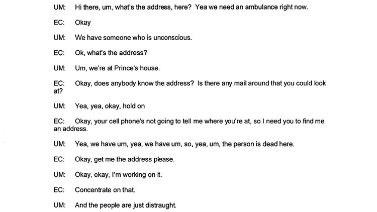 Prince 911 call transcript