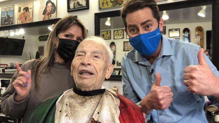 World War II veteran receives free haircut on his 100th birthday
