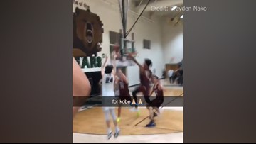High schooler wearing No. 24 sinks game-winning shot at the buzzer as crowd shouts 'Kobe!'