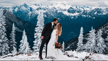 Surprise snowfall creates stunning backdrop for this couple's elopement