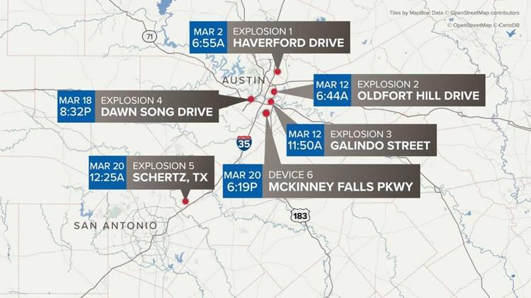Map of Austin bombings
