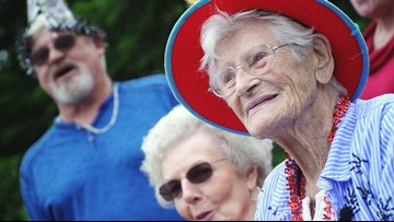 100-year-old woman celebrates birthday with a marching band