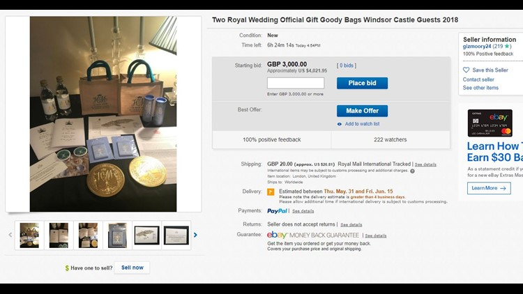 You Can Bid On The Official Royal Wedding Gift Bags On Ebay 11alive Com