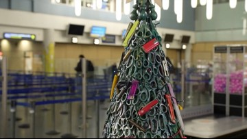 Airport Creates Tree Made Out of Prohibited Items Like Scissors & Blades!