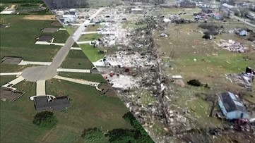 Aerial images show before-and-after tornado damage