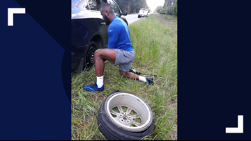 She had a flat tire. An NFL player and former student pulled over to change it