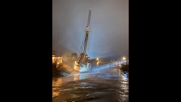 Floating restaurant ripped from shore during rain storm