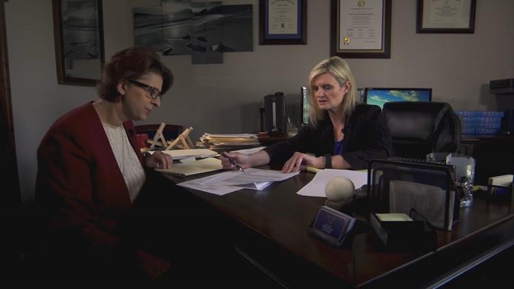 Carla Rankin (right) talks with reporter Tanya Eiserer