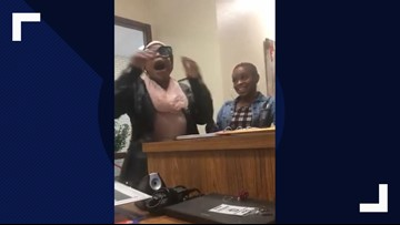 Mom dances in principal's office after learning her daughter is going to college