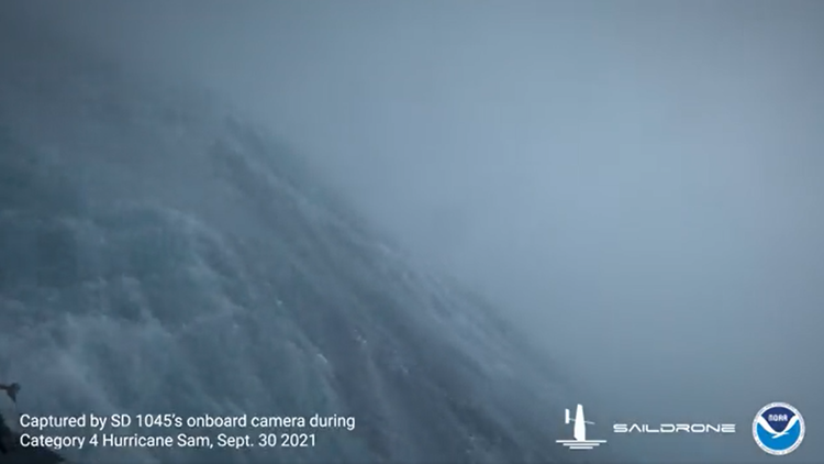 Sailing drone captures unbelievable video of ocean from inside a hurricane