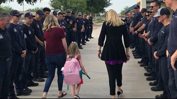 Fallen firefighter's daughter gets escort to her first day of school
