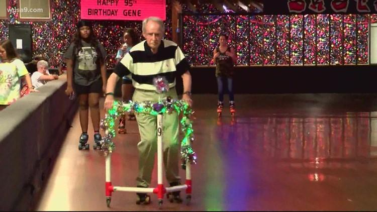 North Carolina man celebrates turning 95 at the skating rink