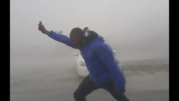 In viral video, man risks life, stands in 130mph Irma winds