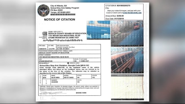 DeKalb Stop Arm Violation Notice