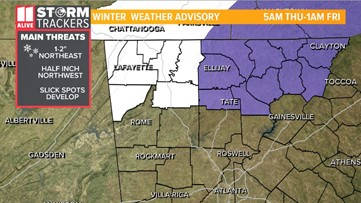 Winter Weather Advisory: Snow expected in north Georgia mountains on Thursday