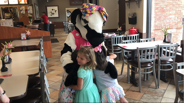 Raelyn Scholes celebrates end of chemo treatment at Chick-fil-A