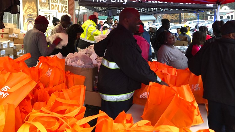 Staff ready for the crowds at the Third Annual Turkey Giveaway