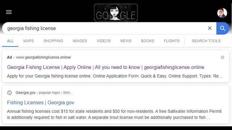 Fake fishing license website