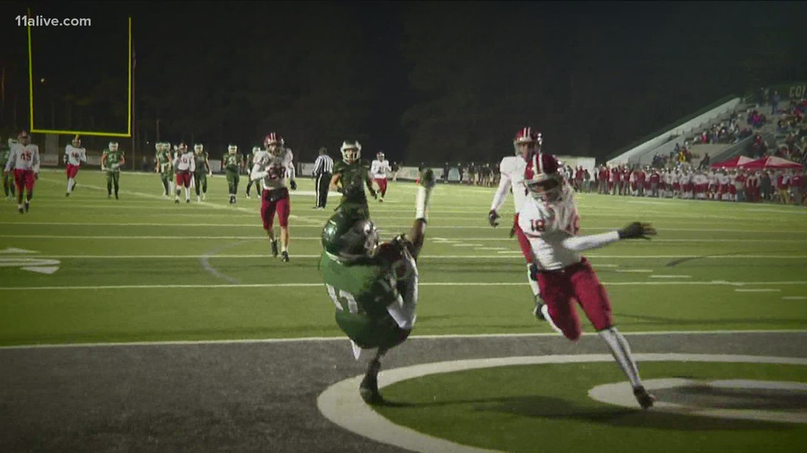Team 11 Play of the Week: Touchdown throw from Collins Hill's Sam Horn to Travis Hunter