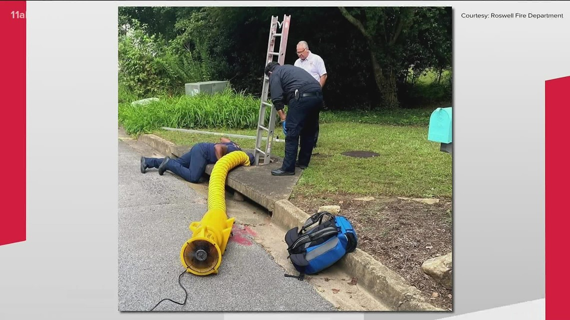 Elderly woman trapped, rescued from Roswell storm drain