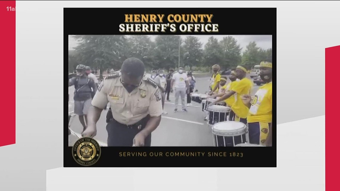 Sheriff joins in with high school drumline