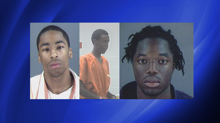 Three of the four convicted Six Flags attackers: (from left) Claude Morey III, Brad Johnson and Willie Franklin