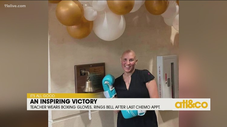 Teacher Wears Boxing Gloves While Ringing Bell After Last Chemo Treatment