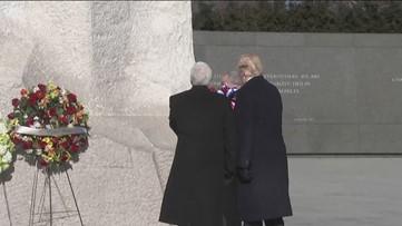 Trump, Pence visit MLK memorial site in Washington