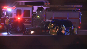 Atlanta Police vehicles involved in two separate wrecks on I-75/85