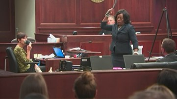 Prosecutor Dasha Young punctuates her closing statement with a belt