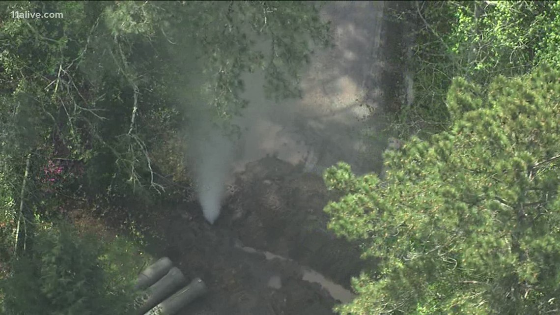 Large gas line rupture in Cherokee County