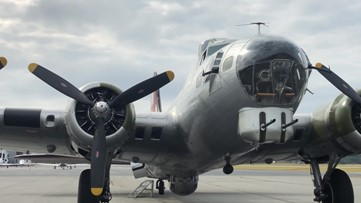 World War II Bomber flies over Lawrenceville