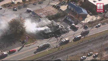 Fire heavily damages Douglasville business, several vehicles: SkyTracker