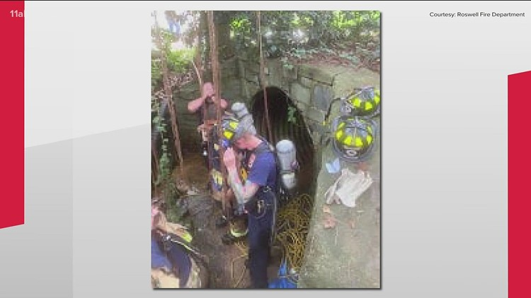 Firefighters rescue woman from storm drain in Roswell