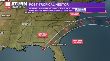 Post-Tropical Cyclone Nestor makes landfall on Gulf Coast of Florida