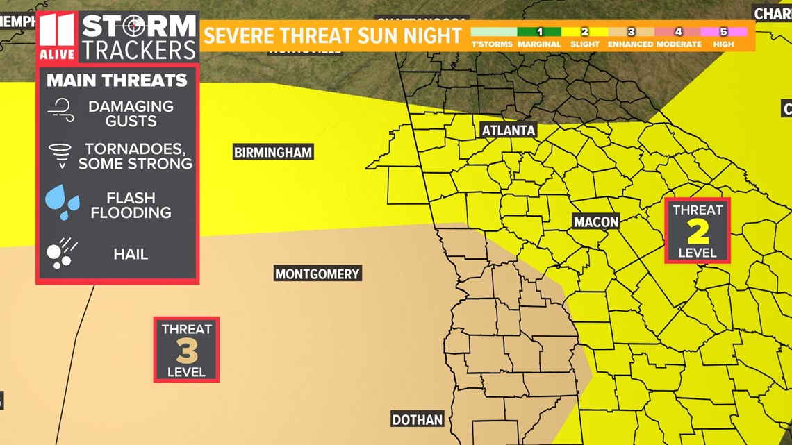 Severe weather outbreak threatens Georgia Easter Sunday