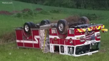 Four firefighters hurt, engine overturns while responding to house fire hit by lightning