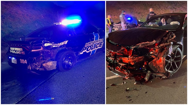 Sandy Springs officer hospitalized after suspected DUI driver strikes patrol car