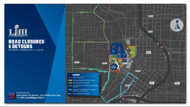 Super Bowl Game Day road closures