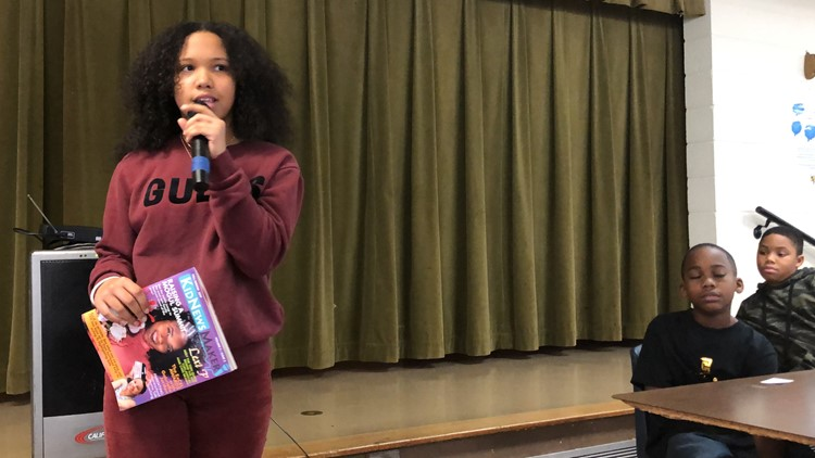 Alejandra Stack, (age 14) Founder and publisher of KidNewsMaker Magazine speaking to the audience
